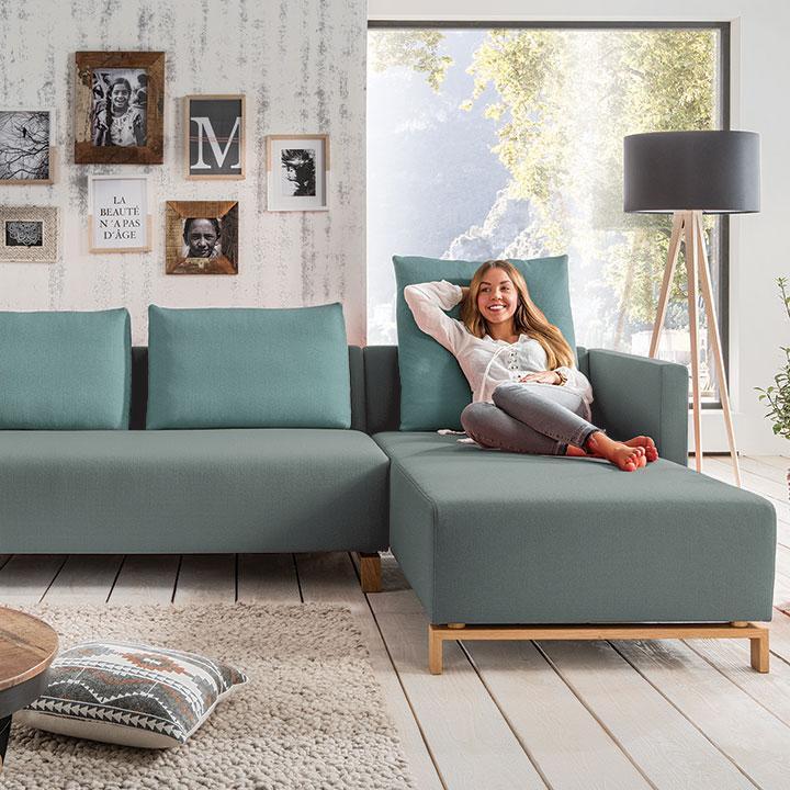 Couch mit Recamiere Fino