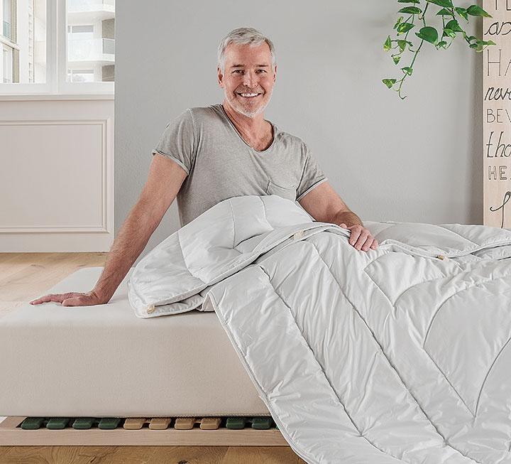 "Kamelflaumhaar-Kombi-Bettdecke ""Cammello-Figura"""