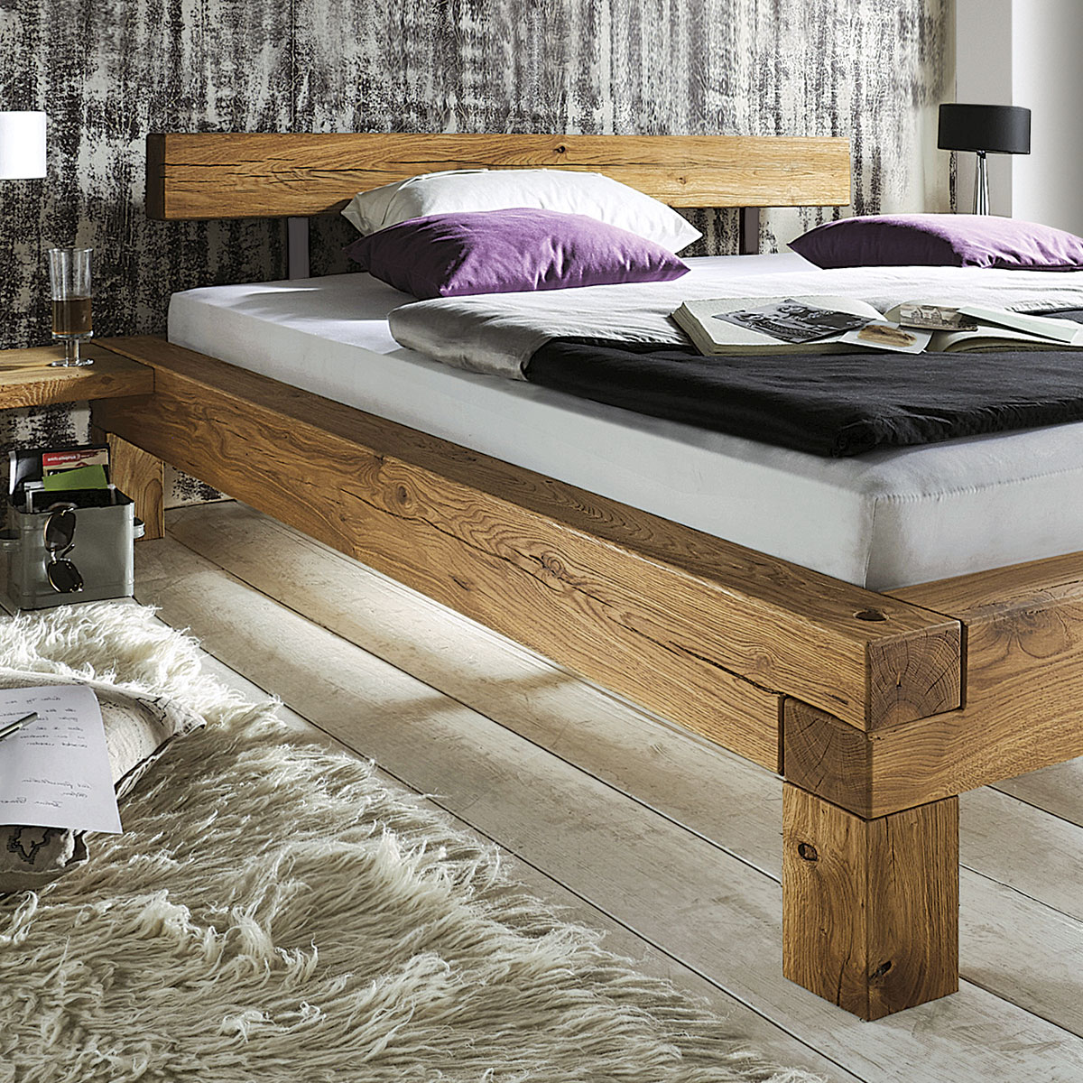 doppelbett madea balkenbett massiv eiche. Black Bedroom Furniture Sets. Home Design Ideas