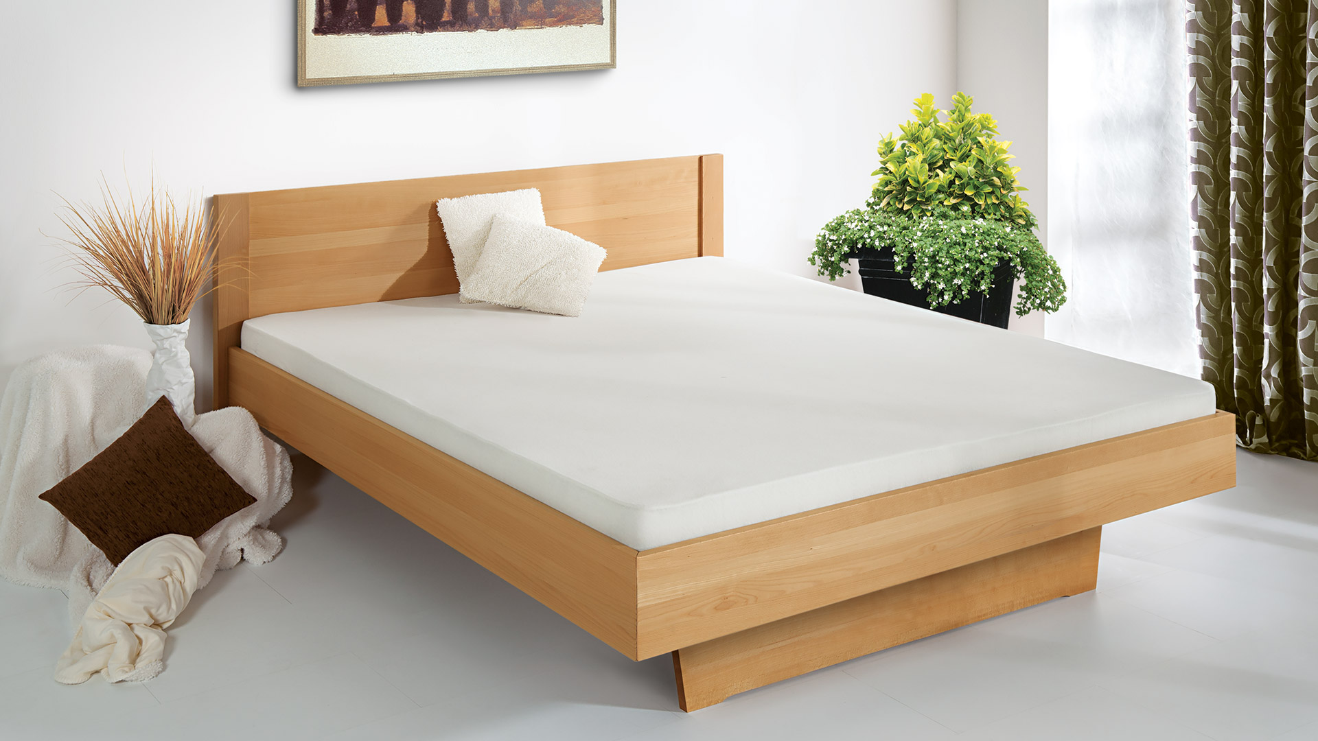 """Einzelbett und Doppelbett """"Tanara 01"""" - ohne Oberflächen-Behandlung"""