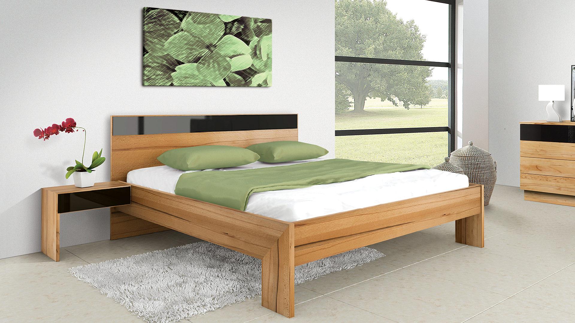 """Einzelbett und Doppelbett """"Rivaro 02"""" - ohne Oberflächen-Behandlung"""
