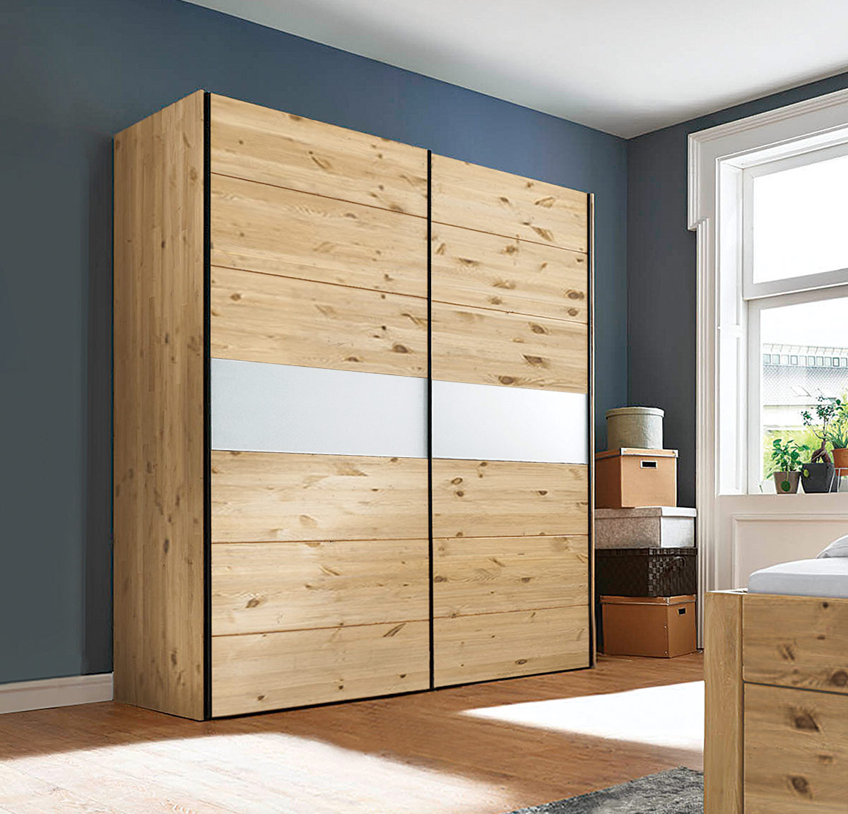 schiebet ren kleiderschrank midra 100 massiv kiefer. Black Bedroom Furniture Sets. Home Design Ideas