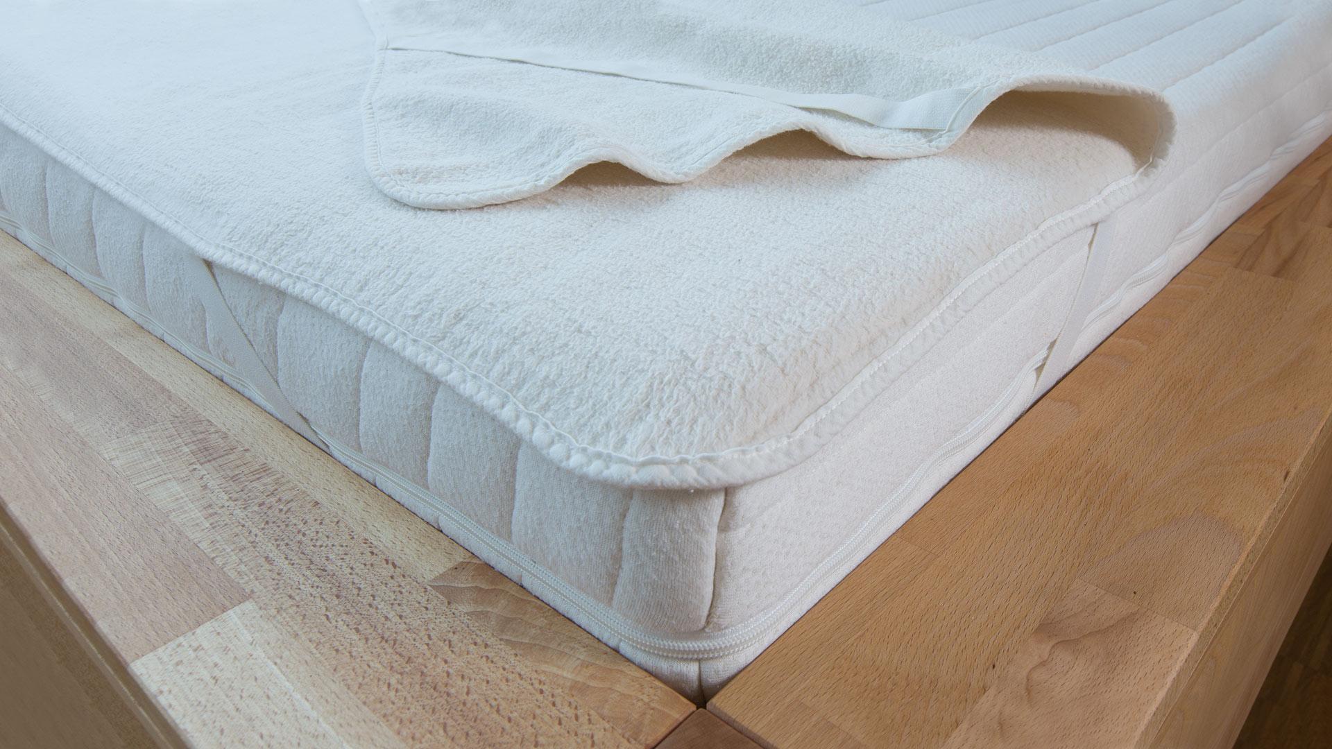 Bettauflage Matrazenschoner weiss Fleece  90 x  190 cm  Bett Schlafen Baumwolle