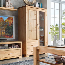 "Vorschau: Highboard Mascella Links Highboard ""Mascella"" Variante 03, rechts Variante 02 in massiver Kiefer"