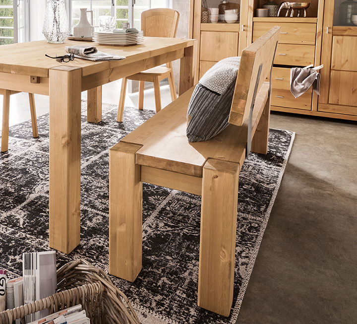 Massivholz Sitzbänke mit Rückenlehne