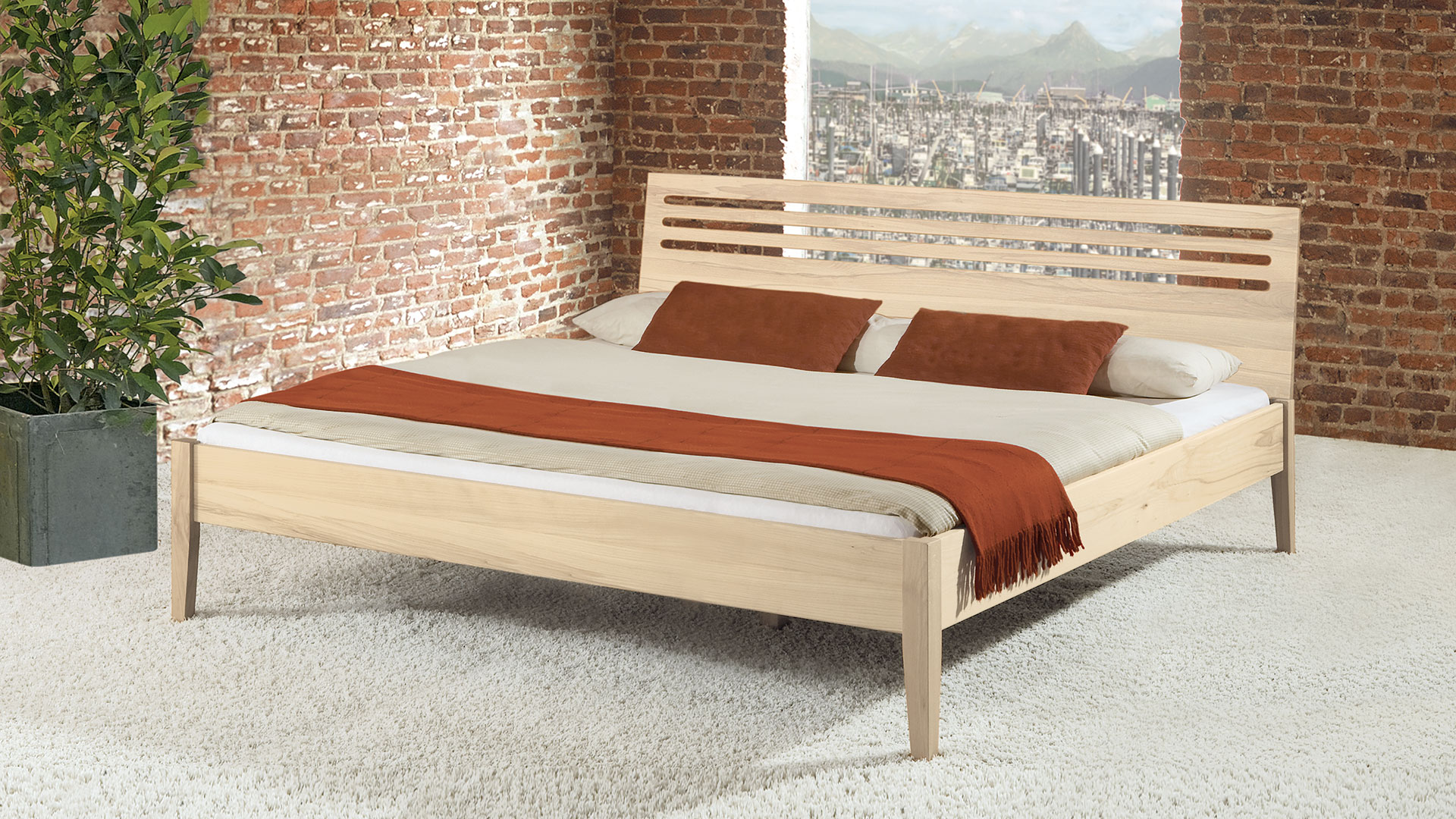 """Einzelbett und Doppelbett """"Ravenna 01"""" - Diverse Oberflächen"""