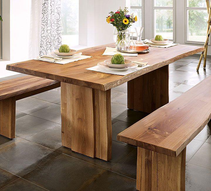 Esstische aus massivholz for Esstisch holz mit glasplatte