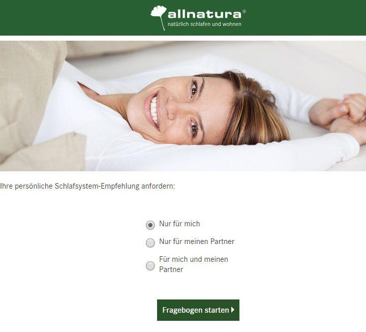 Schlafsystem-Fragebogen
